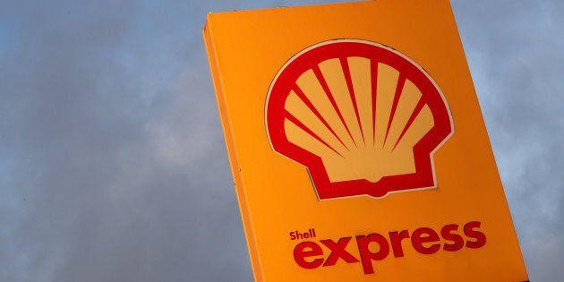 The Royal Dutch Shell logo at a gas station in Sint-Pieters-Leeuw, Belgium, Jan.