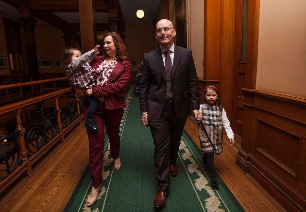 Former MPP Steven Del Duca and his wife Utilia Amaral walk with their daughters Grace and Talia after...