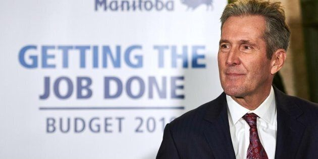 Manitoba Premier Brian Pallister speaks to media following the delivery of Manitoba's 2019 budget, at...