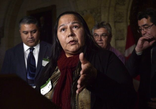 Judy Wilson, Chief of Neskonlith Indian Band and Executive Member of the Union of B.C. Indian Chiefs speaks during a press conference on the impact of Bill C-58 on Indigenous communities, in the foyer of the House of Commons on Dec. 4, 2017.