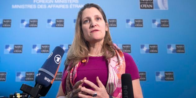 Foreign Affairs Chrystia Freeland speaks to media upon arrival for the meeting of the North Atlantic...