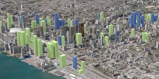 A screencap of Point2 Homes' rendering of the evolution of Toronto's skyline. The city could have as...