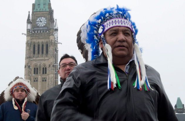 Steve Courtoreille, Chief of the Mikisew Cree First Nation, at Parliament Hill after speaking about legal...