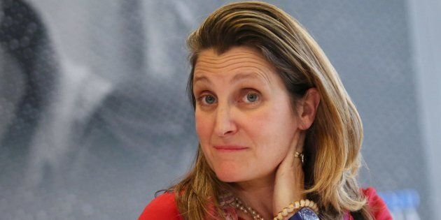 Foreign Affairs Minister Chrystia Freeland delivers a statement to media in the margins of the G7 Foreign...
