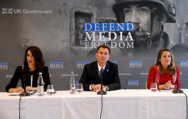 Britain's Foreign Secretary Jeremy Hunt, Canada's Foreign Minister Chrystia Freeland and human rights...