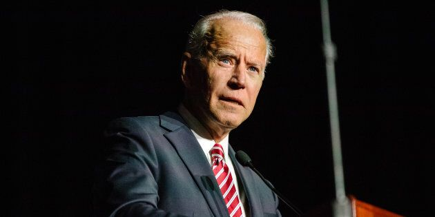Former U.S. Vice President Joe Biden speaks during the first State Democratic dinner in Dover, Del.,...