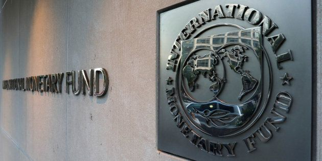 The IMF logo outside its headquarters in Washington, D.C., Sept. 4,