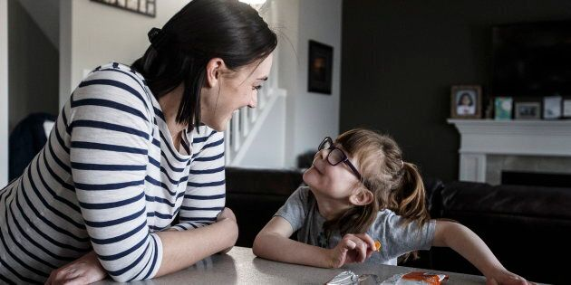 Hailey Hague and her daughter Lily in their home in Edmonton on April 3. As a baby, Lily went into liver...