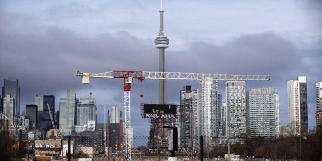 The CN Tower can be seen in the Toronto skyline in Toronto on April 25,