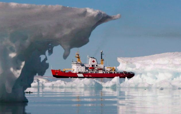 The Canadian Coast guard's medium icebreaker Henry Larsen is seen in Allen Bay on Aug. 25,