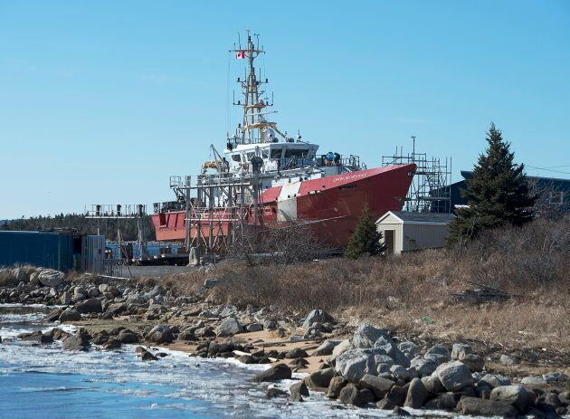 The Canadian Coast Guard patrol ship, CCGS Corporal McLaren M.M.V., a Hero-class patrol vessel, rests...