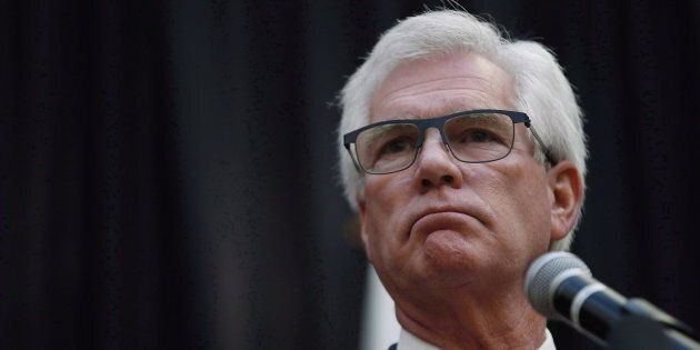 International Trade Minister Jim Carr speaks during a press conference in Winnipeg on Oct. 23,