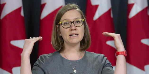Democratic Institutions Minister Karina Gould responds to a question during a news conference in Ottawa on April 8, 2019.