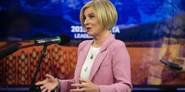 Alberta NDP Leader Rachel Notley speaks to the press after a debate in Edmonton on April 4,