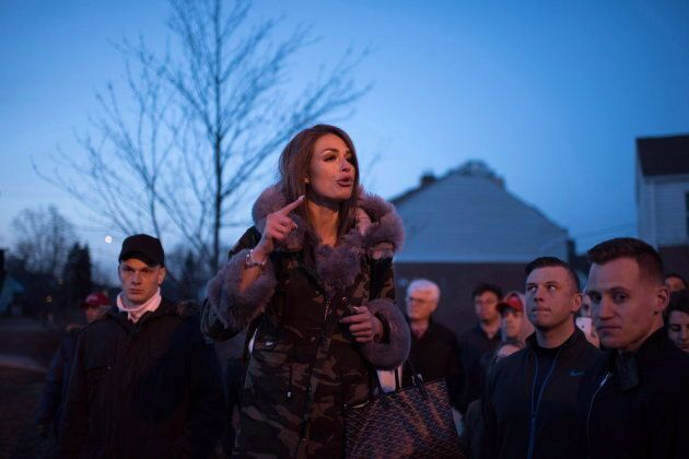Faith Goldy speaks outside Wilfrid Laurier University on March 20, 2018.