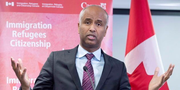 Immigration Minister Ahmed Hussen makes an announcement of support for pre-arrival services at the YMCA...