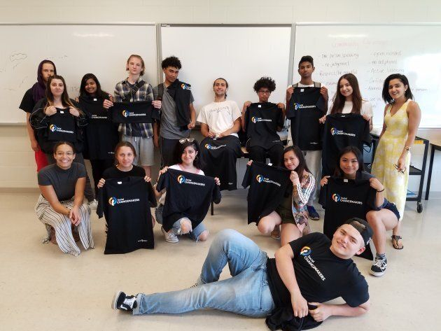 Youth participants are photographed at a week-long equity camp organized by Harmony Movement in partnership with the York Catholic District School Board.