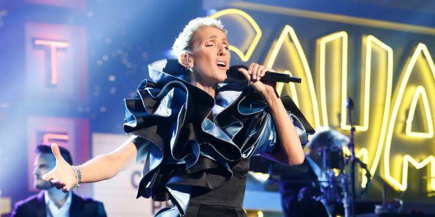 Céline Dion on 'Jimmy Kimmel Live!' on Friday, April 5 belting it