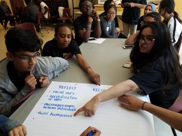 Students from Maple High School in the York Region District School Board plan ways to make their school...