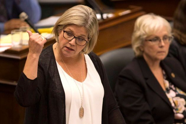 Ontario NDP Leader Andrea Horwath speaks at the Ontario legislature in Toronto on Sept. 17,