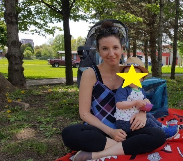 Natalie Stechyson takes her son to the park two days after her second surgery to remove her molar pregnancy...