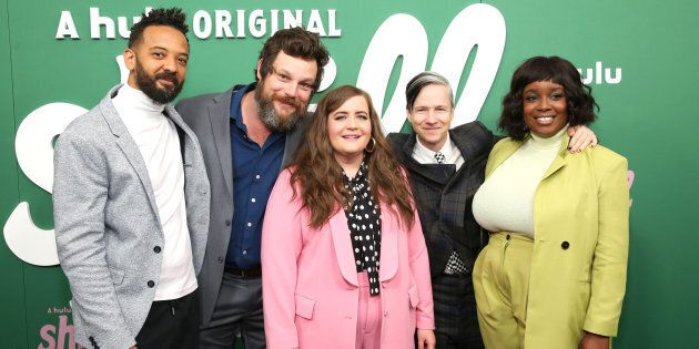 Ian Owens, Luka Jones, Aidy Bryant, John Cameron Mitchell, and Lolly Adefope at the premiere of Hulu's...