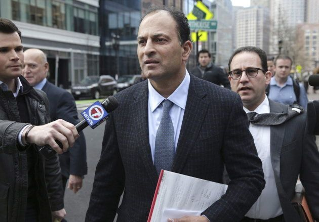 David Sidoo leaves following his federal court hearing on March 15, 2019, in