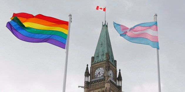 File photo of a flag raising ceremony on Parliament Hill in Ottawa on June 20, 2018.