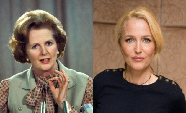 Left: Margaret Thatcher at a political conference in London in the early 1980s in London, England. Right:...