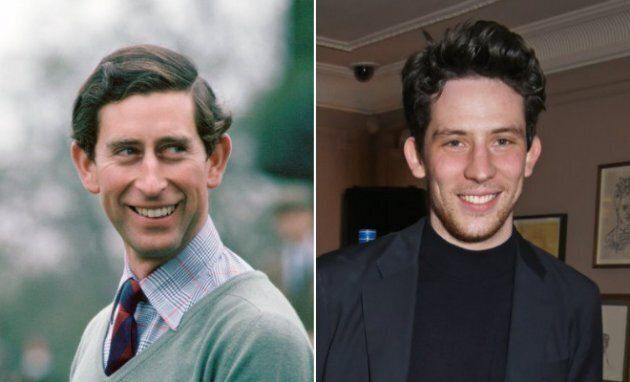 Left: Prince Charles fishing, 1970s. Right: Josh O'Connor in London on Feb. 16,