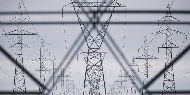 Hydro power lines are shown just outside Winnipeg on May 1,