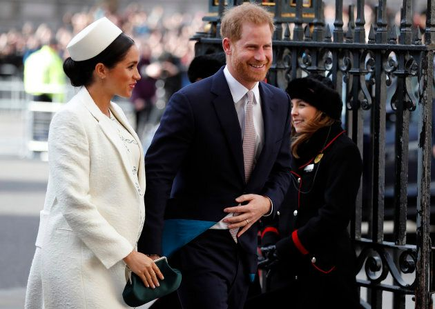Britain's Prince Harry and Meghan, the Duchess of Sussex arrive to attend the Commonwealth Service at...