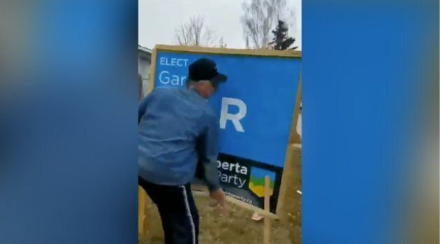 A screengrab from a video that Alberta Party candidate Gar Gar shared on Twitter shows a man forcibly...
