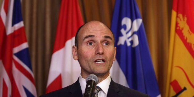 Jean-Yves Duclos speaks to media at the Hotel Grand Pacific in Victoria, B.C., on June 28,