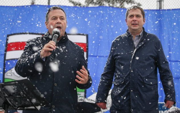 United Conservative Party leader Jason Kenney, left, and federal Conservative Party leader Andrew Scheer...