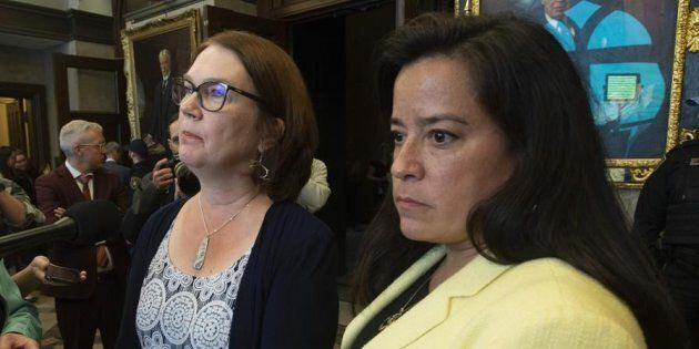Independent Members of Parliament Jane Philpott and Jody Wilson-Raybould speak with the media before...