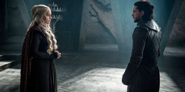 Emilia Clarke as Daenerys Targaryen and Kit Harington as Jon Snow in a scene from