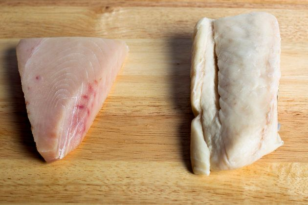 Albacore tuna, left, and escolar,