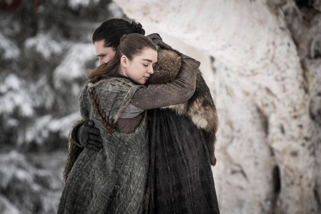 "Arya Stark and Jon Snow have an emotional reunion in the season premiere of ""Game of Thrones."""