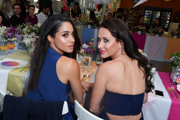 Meghan Markle and Jessica Mulroney attend the Instagram Dinner held at the MARS Discovery District on May 31, 2016 in Toronto.