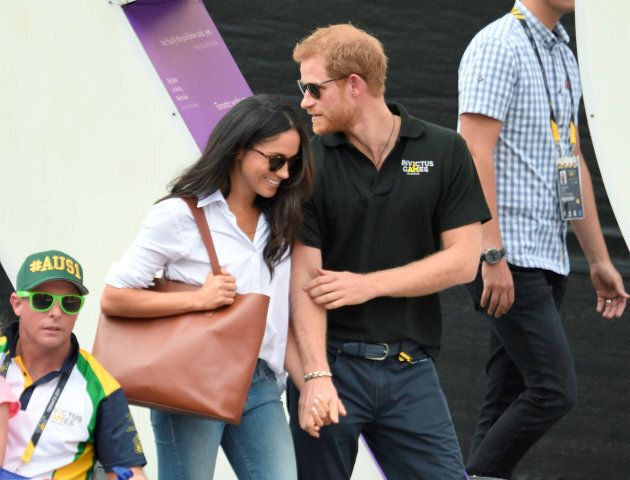Meghan Markle and Prince Harry attend the Wheelchair Tennis on day three of the Invictus Games Toronto 2017 at Nathan Philips Square on Sept. 25, 2017 in Toronto.