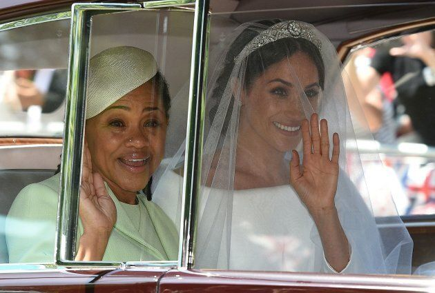 Meghan Markle and her mother, Doria Ragland, arrive for her wedding ceremony to marry Britain's Prince Harry, Duke of Sussex, at St George's Chapel, Windsor Castle, in Windsor, on May 19, 2018.
