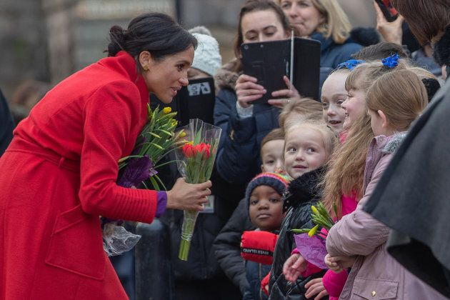 Meghan, Duchess of Sussex greet well-wishers during an official visit to Birkenhead on Jan. 14, 2019...