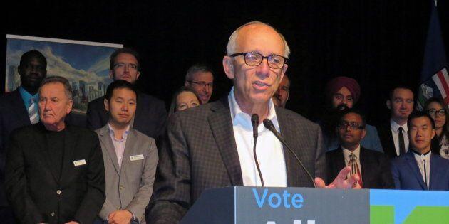 Alberta Party Leader Stephen Mandel speaks to members at the party's annual general meeting in Edmonton...