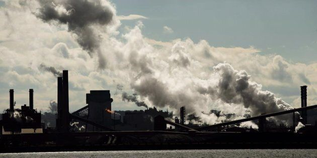 The steel mills in the Hamilton waterfront harbour are shown in Hamilton, Ont., on Oct. 23,