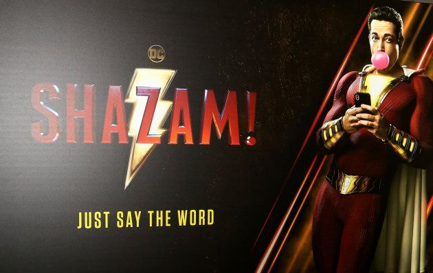 LAS VEGAS, NEVADA - APRIL 01: An advertisement for the upcoming 'Shazam!' movie is displayed at Caesars...