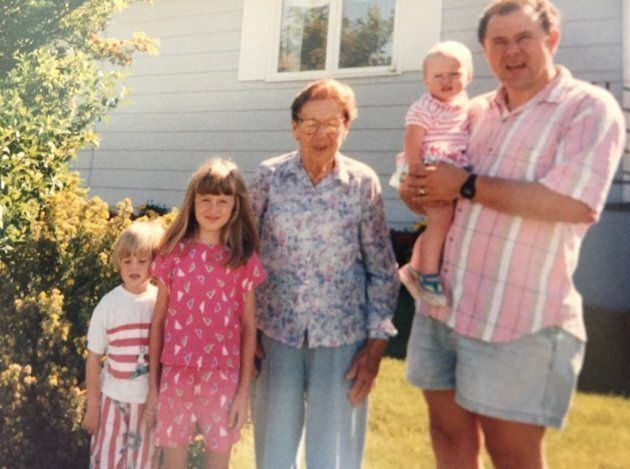 The author with her dad, sisters and great-grandmother Mary outside her home in Sturgis, Sask., in 1991. The people are listed as: Michelle, Hilary (the author at 8 years old), Mary, Mari-Anne and Clarence Pettersen.