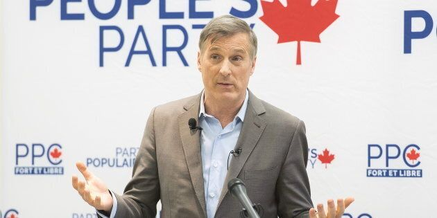 People's Party of Canada Leader MaximeBernier speaks during a candidate nomination event for the upcoming...