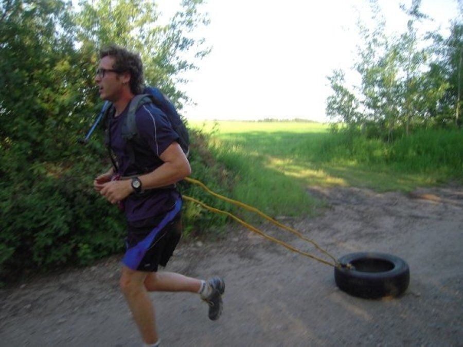Training for his first ultra-marathon, the 2009 Canadian Death Race, in Red Deer County,