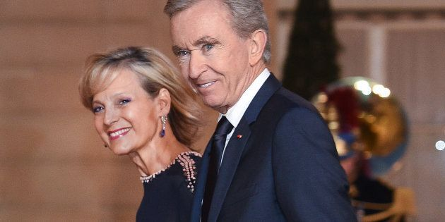 Bernard Arnault and wife Helene Arnault arrive for a state dinner at the Elysee Presidential Palace,...